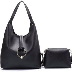 Premium Faux Leather Tote w/ Ring Medallion- Black